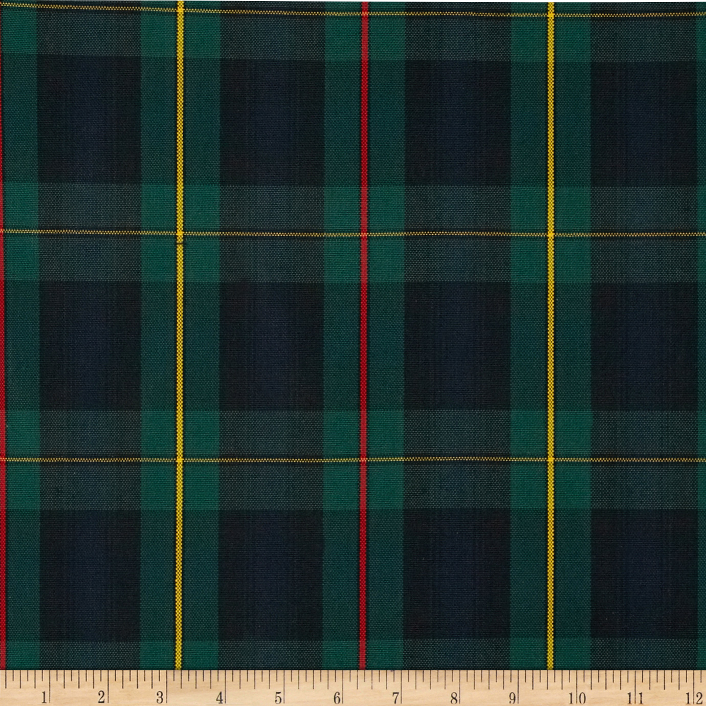 Polyester Uniform Plaid Red/Green/Yellow Fabric by Carr in USA