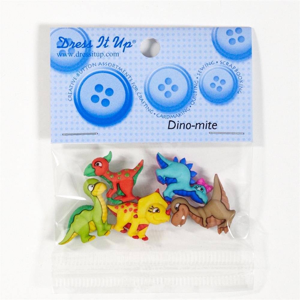 Dress It Up Embellishment Buttons Dino-Mite