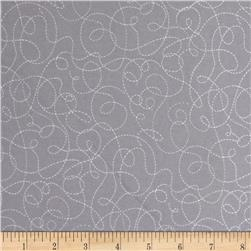 Ink & Arrow Little Buggers Flannel Dotted Scroll  Gray
