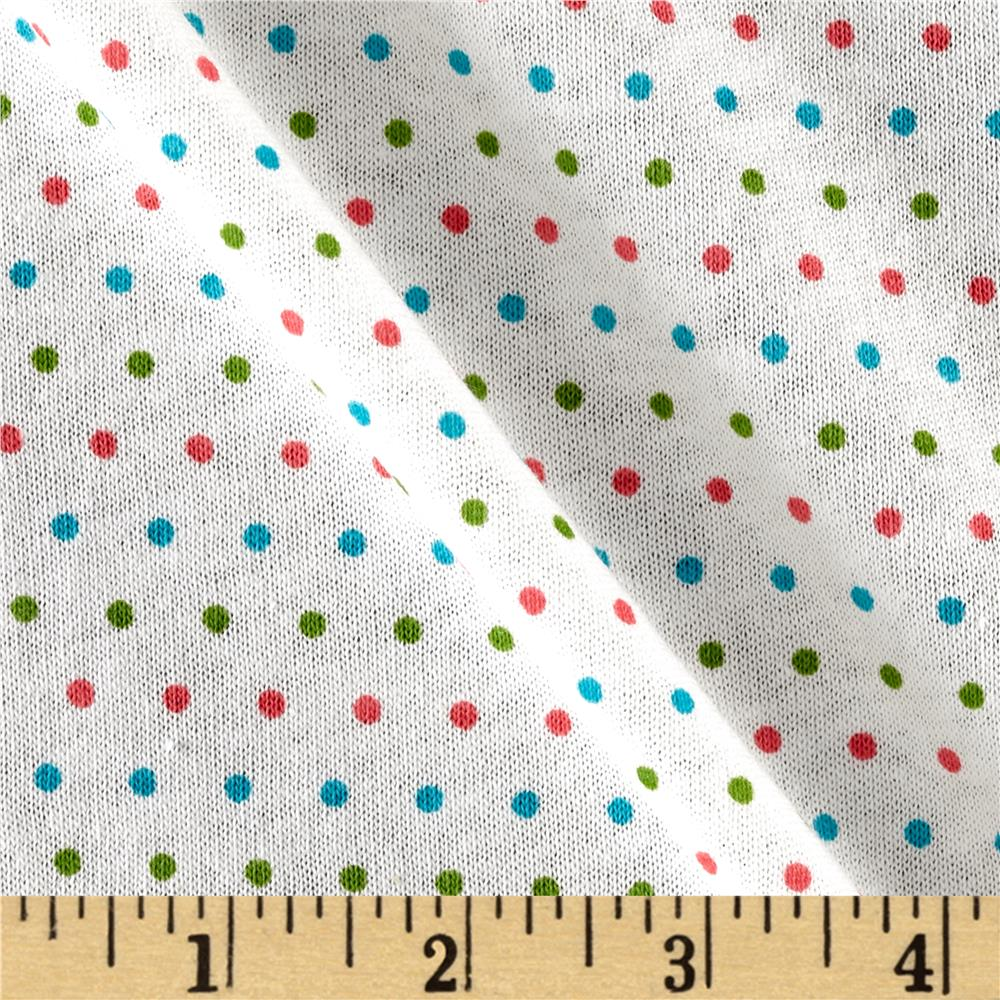 T-Shirt Jersey Knit Mini Dot Party Green Pink Blue