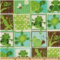 G Is For Green Patchwork Frogs Green