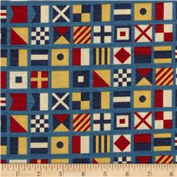Ships Ahoy Nautical Flags Navy