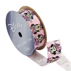 "7/8"" Minnie Mouse Ribbon Bow Poses Pink"
