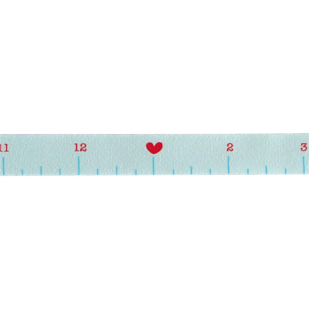 "Riley Blake 1/2"" Cotton Tape Ribbon Ruler Blue"