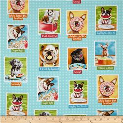 Eat, Drink & Be Funny Dog Blocks Aqua
