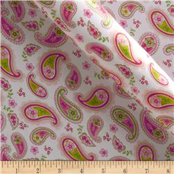 Charmeuse Satin Pretty Paisley Hot Pink/Jade Fabric