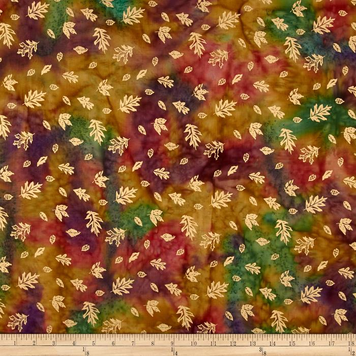 Indian Batik Harvest Small Leaf Metallic Coral