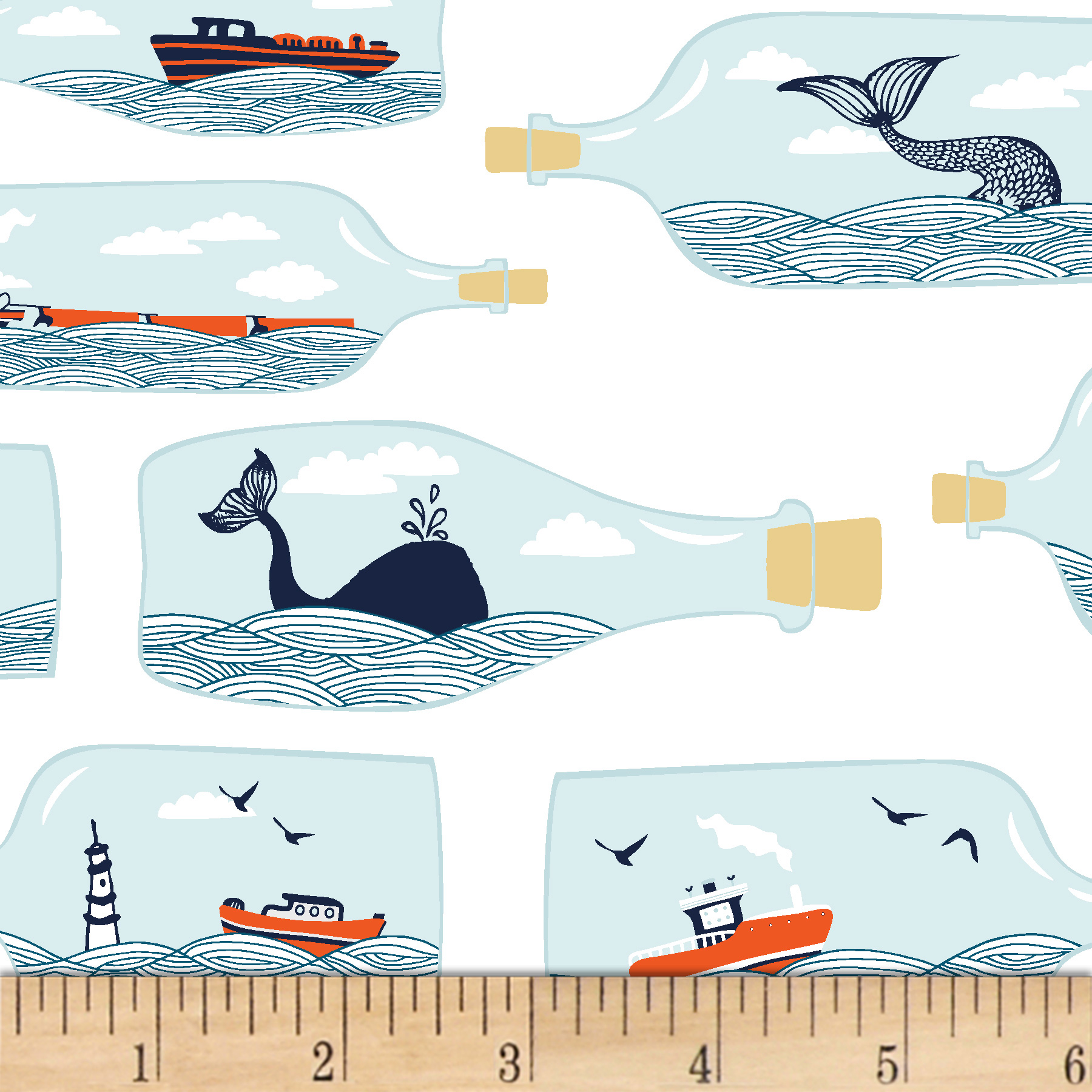 Image of Dear Stella Dark & Stormy Hook Line & Sinker White Fabric