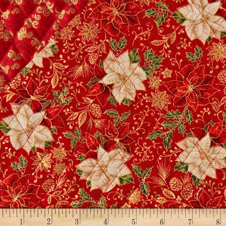 Celebrate the Season Double Sided Quilted Poinsettias Red