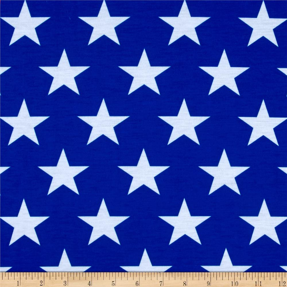 Poly Spandex Jersey Knit Stars Print Royal/White - Discount ...