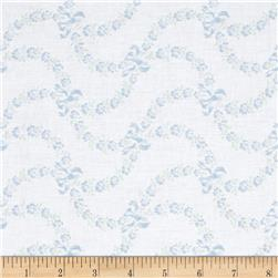Treasures by Shabby Chic Ballet Rose Floral Swag & Bows White/Blue