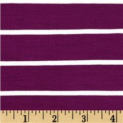 Stretch Bamboo Rayon Mariner Jersey Knit Stripe Plum/Off White