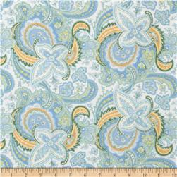 American Bouquet Flannel Large Paisley White