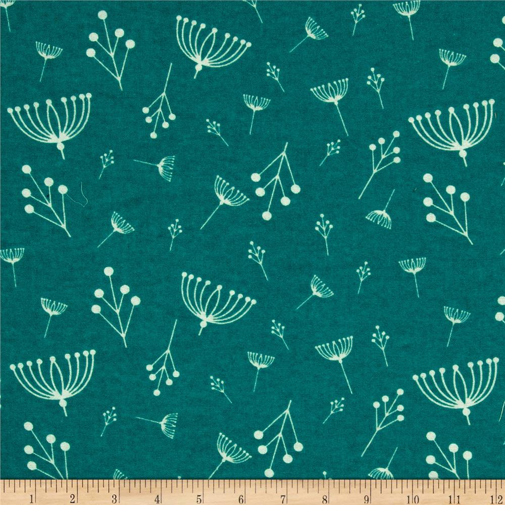 Birch Organic Flannel Charley Harper Twigs Teal