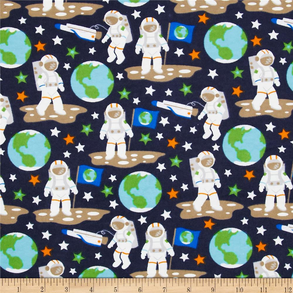 Flannel Glow in the Dark Astronauts Black Fabric By The Yard