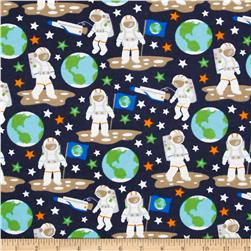Flannel Glow in the Dark Astronauts Black Fabric