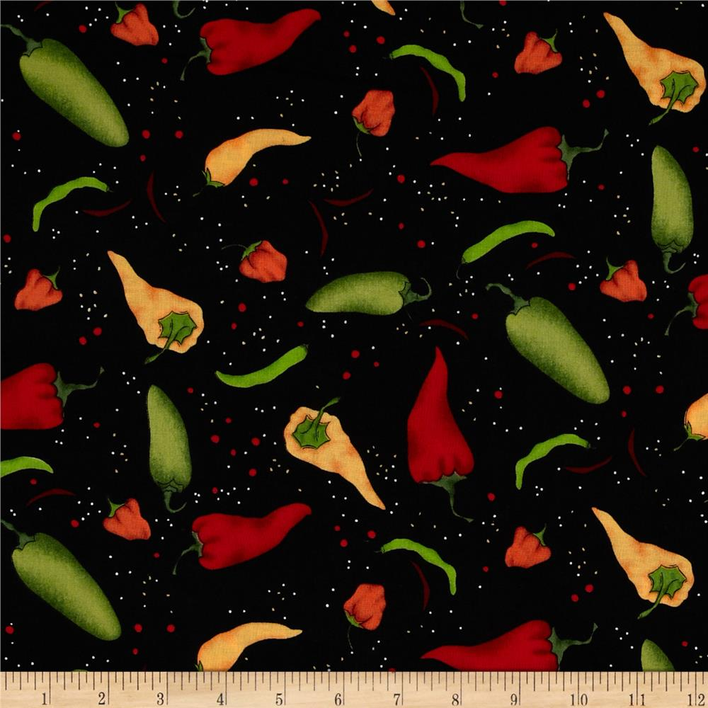 Salsa Picante Pepper Collage Black