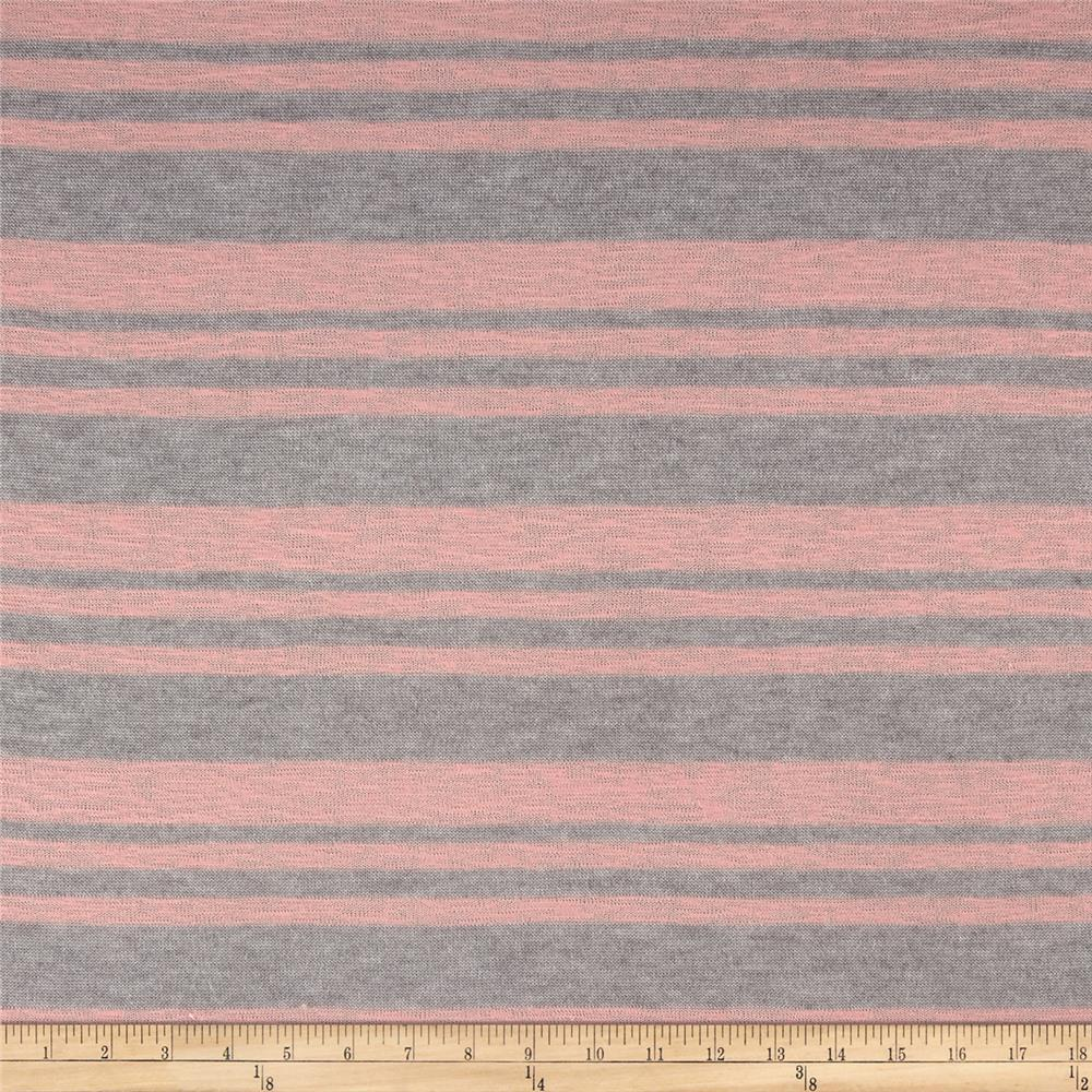 Sweater Knit Stripe Gray Pink Fabric By The Yard
