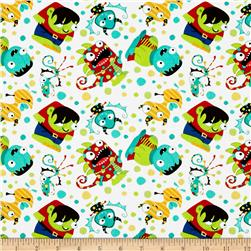 Monster Mash Party Monsters Cream Fabric