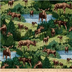 Timeless Treasures Moose Green
