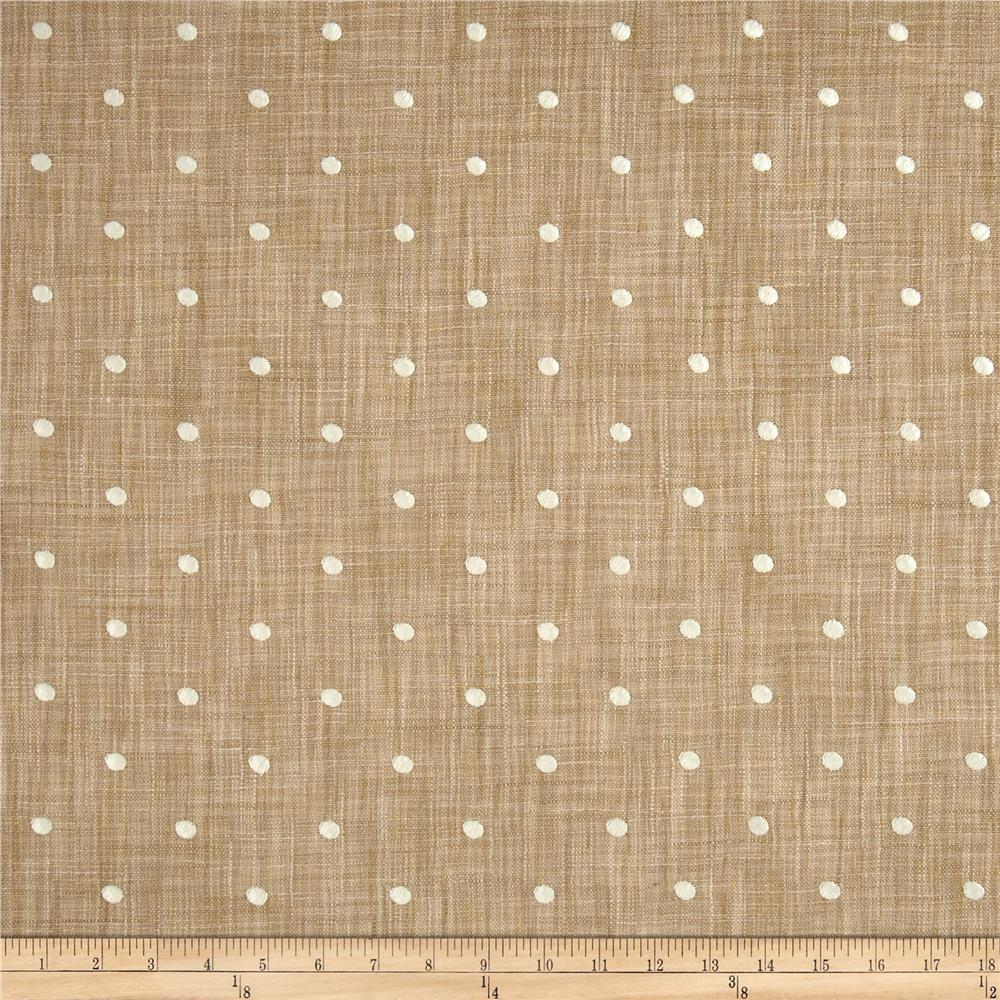 Tempo Faux Linen Embroidered Dot Ivory