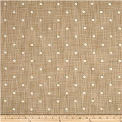 Tempo Faux Linen Embroidered Dot Ivory Fabric