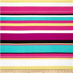 Stretch ITY Jersey Knit Stripe Magenta/Yellow