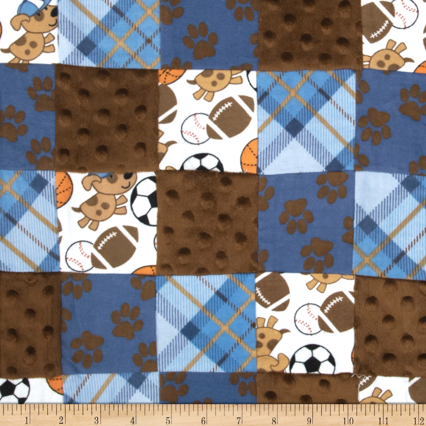 Little Allstar Pre-Sewn Patchwork Blue Fabric