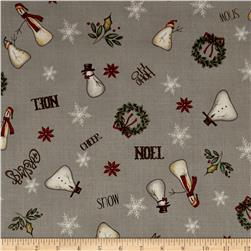 Christmas Whimsy Snowman Toss Grey