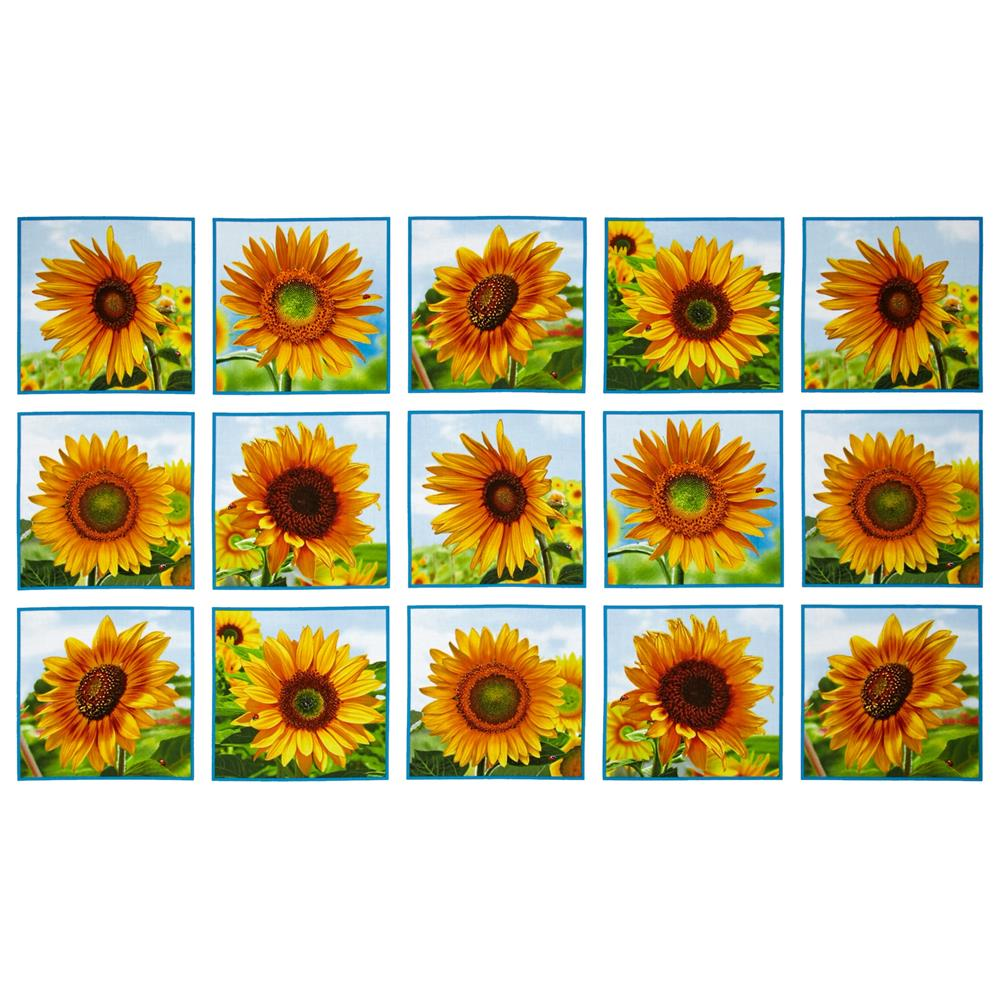Sunflowers Squares 24 In. Panel  White