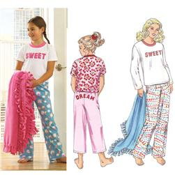 Kwik Sew Girls' Sleep Pants, Shirts & Blanket