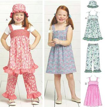 Kwik Sew Girls' Sugar & Spice Dresses, Pants & Hat Pattern