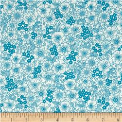 Kaufman London Calling Lawn Sketch Floral Teal