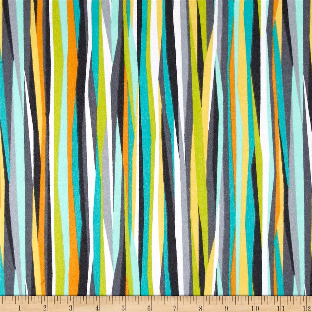 Michael Miller Flannels Current Stripe Seaweed Fabric