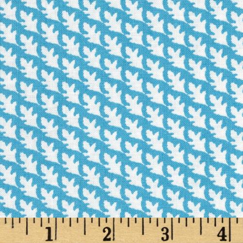Fabric Freedom Woodland Floral Diagonal Leaf Blue