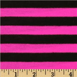 Stretch Yarn-Dyed Jersey Knit Stripes Pink/Black
