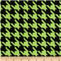 Minky Houndstooth Bright Lime/Black
