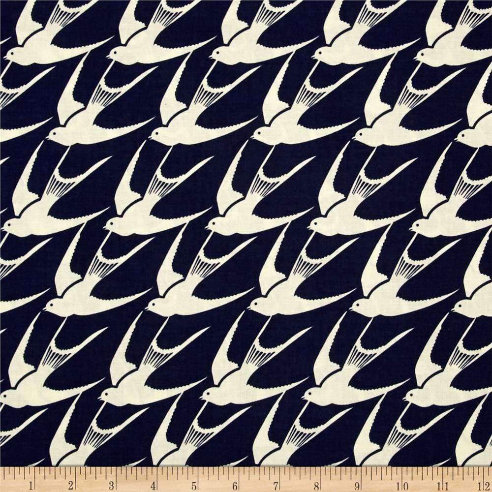 Cotton + Steel Bluebird Flock Navy