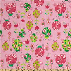 Flannel Ladybugs & Flowers Pink