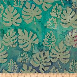 Indian Batik Palm Leaf Moss/Turquoise/Purple