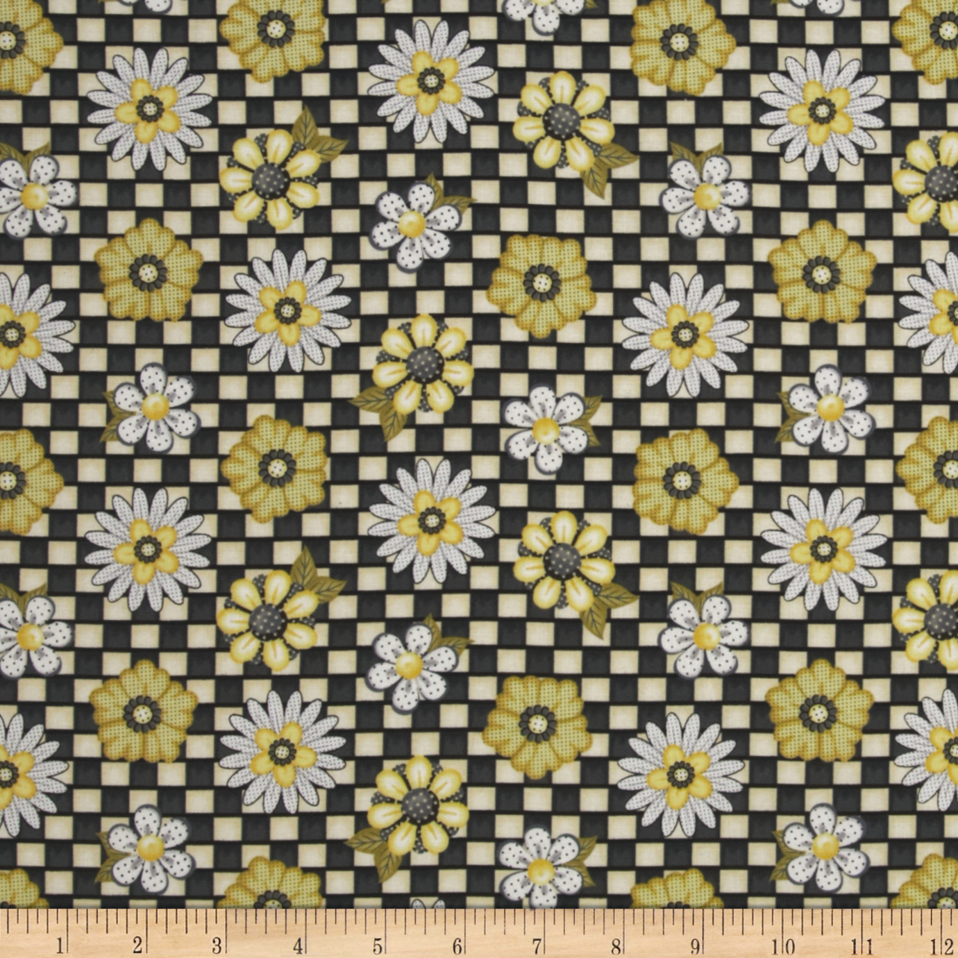 Honey Bee Mine Daisy Allover Black Fabric