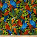 Wildlife Paradise Tropical Birds Navy