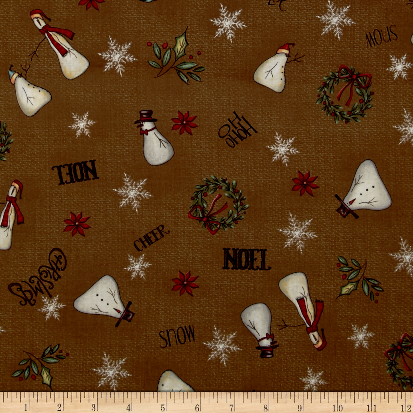 Christmas Whimsy Snowman Toss Dark Brown Fabric by Red Rooster in USA