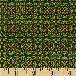 Tis The Season Foulard Metallic Green Fabric