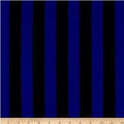Stretch ITY Jersey Knit Classic Stripe Black and Royal