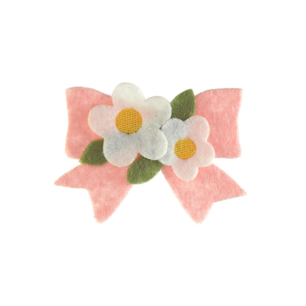 Bow with Felt Flowers Applique Pink
