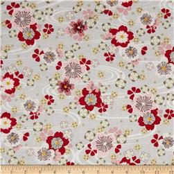 Diary of a Geisha Metallic Floral Grey Fabric