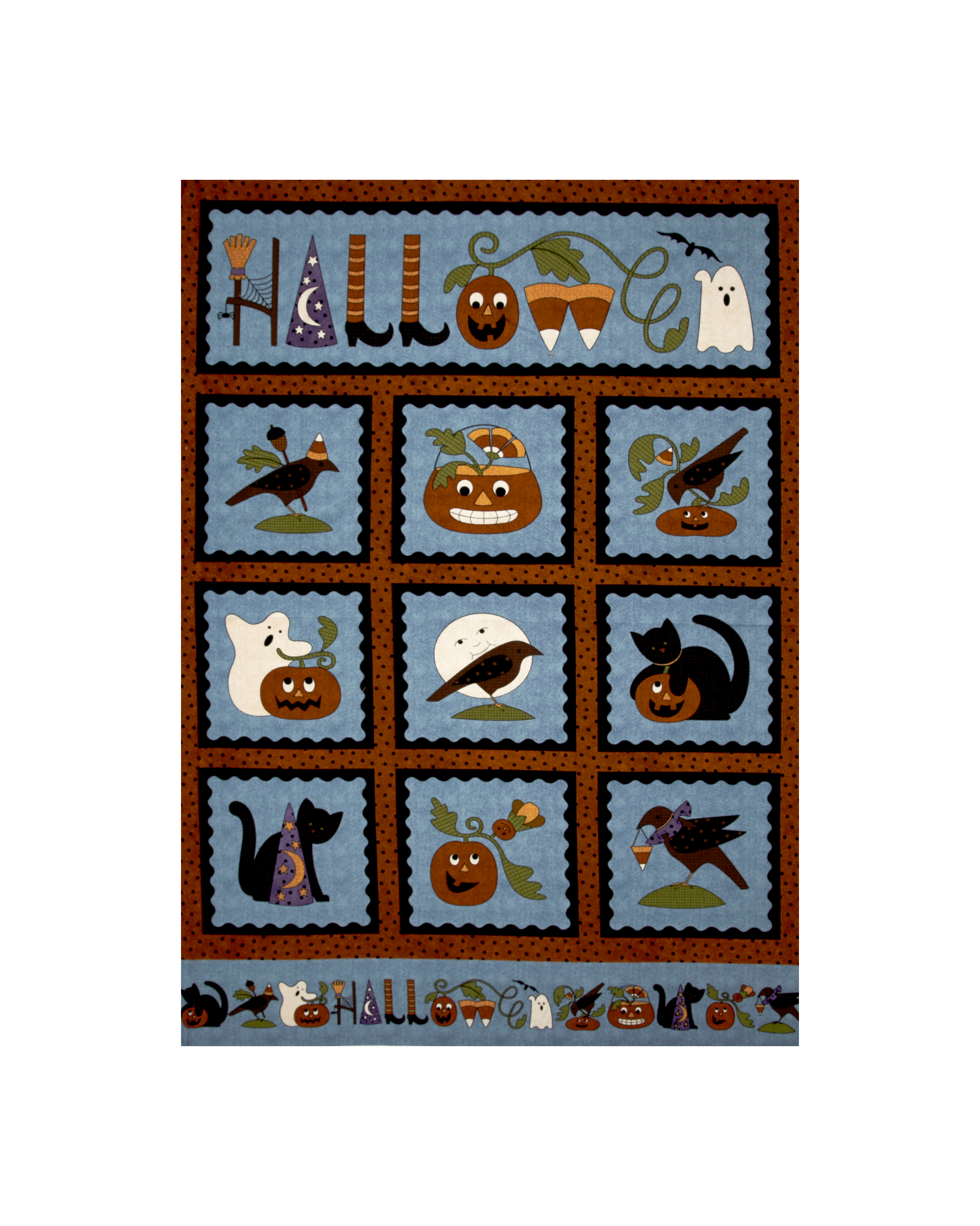 Pumpkin Party Flannel Halloween 36 In. Panel Blue Fabric by E. E. Schenck in USA