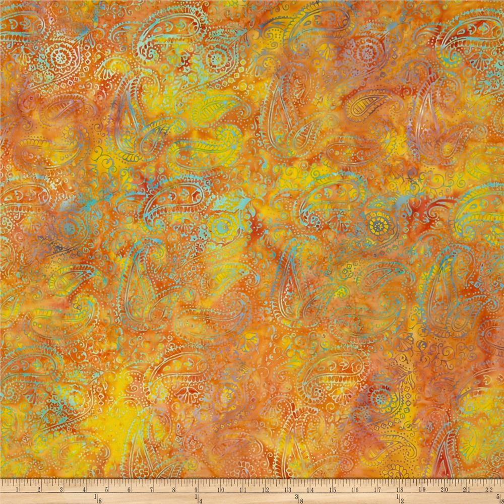 Island Batik Paisley Orange/Multi