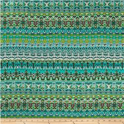 Rayon Challis Bohemian Prints Mint/Green/Orange/Ivory